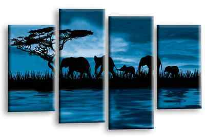 7 of 9 Large Teal Black Grey Elephant Sunset Canvas Wall Art Picture Print Multi 4Panel  sc 1 st  PicClick UK & LARGE TEAL BLACK Grey Elephant Sunset Canvas Wall Art Picture Print ...