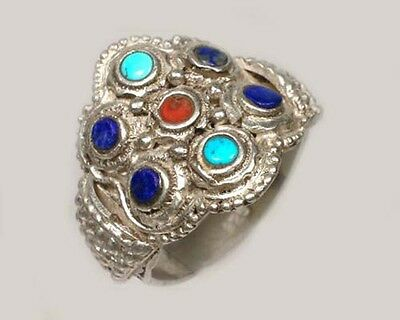 Antique 19thC Macedonian Victoria Intricate Sterling Lapis Gemstone Ring Size 11 2