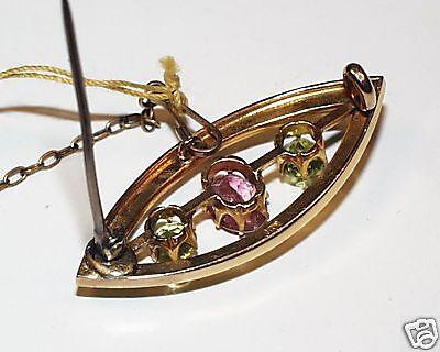 2278f65ab9adc ANTIQUE PINK TOURMALINE Peridot Seed Pearl Pin 15K Gold