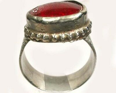 "Intricate 18thC Crimean Tatar Silver Alloy Ruby Red Glass ""Gemstone"" Ring Sz 10 4"