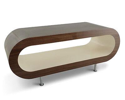 Retro Designer Coffee Table Black White High Gloss Modern Oak Oval Contemporary
