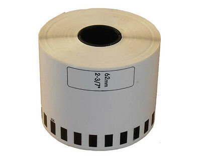 10+2 ROLL DK22205 DK 22205 BROTHER COMPATIBLE CONTINUOUS LABELS 62mm x 30.48m