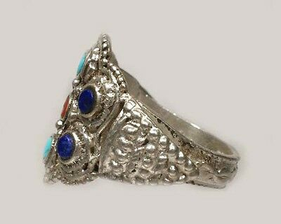 Antique 19thC Macedonian Victoria Intricate Sterling Lapis Gemstone Ring Size 11 3