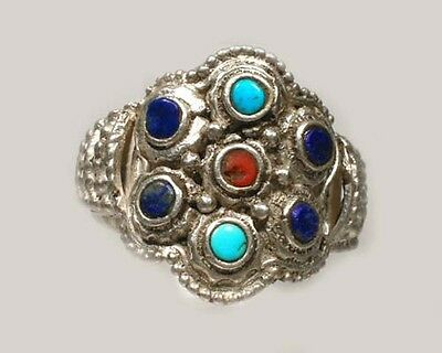 Antique 19thC Macedonian Victoria Intricate Sterling Lapis Gemstone Ring Size 11 4