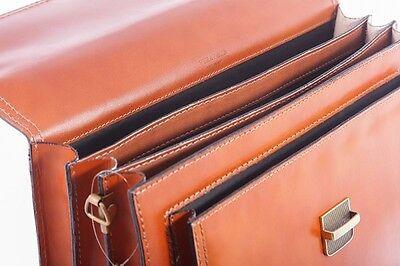 70b6caa11 ... Handmade In Italy Designer Tan Leather Briefcase Laptop Satchel Bag  Messenger 5