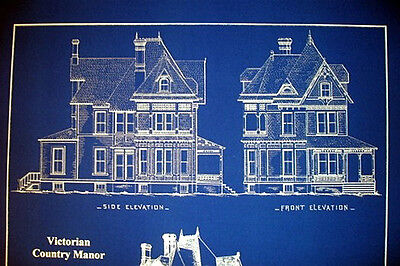 """Victorian House 1890 old fashioned blue Blueprint Plans 19""""x24""""  (070) 2"""