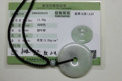 Certified Natural JADE Type A Untreated Light Green Jadeite Circle Donut Pendant 8