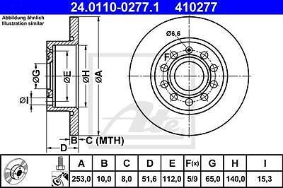 Vw Golf 5/6 V/vi Ate Bremsen Kit + 4 Bremsscheiben + 8 Bremsbeläge Für Vo + Hi