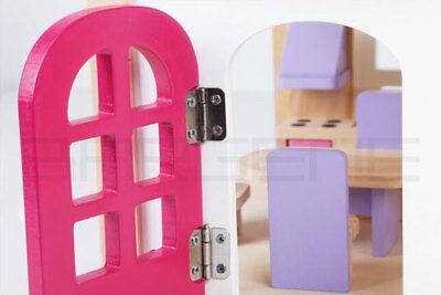 Wooden DIY Dolls Doll House 3 Level Kids Pretend Play Toys Full Furniture Set Pi