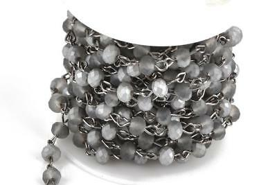 3ft Matte SILVER GREY Crystal Rondelle Rosary Chain, gunmetal 6mm beads fch0661a 3