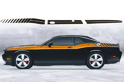 2008 2009 2010 Dodge Challenger Side Dual Strobe Stripes Bodyline Decals hemi