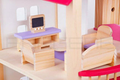 Wooden DIY Dolls Doll House 3 Level Kids Pretend Play Toys Full Furniture Set Pi 4
