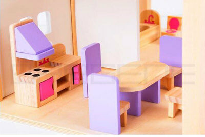 Wooden DIY Dolls Doll House 3 Level Kids Pretend Play Toys Full Furniture Set Pi 3