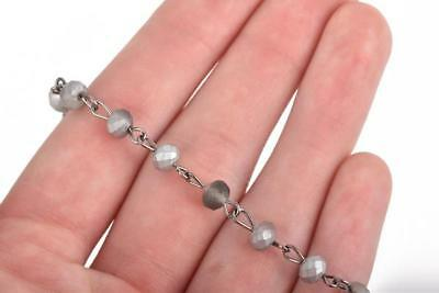 3ft Matte SILVER GREY Crystal Rondelle Rosary Chain, gunmetal 6mm beads fch0661a 2