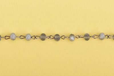 3ft Matte SILVER GREY Crystal Rondelle Rosary Chain, gunmetal 6mm beads fch0661a 5