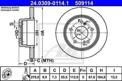 ATE Powerdisc Bremsscheiben + Ceramic Beläge Hinterachse(HA) für MERCEDES-BENZ C