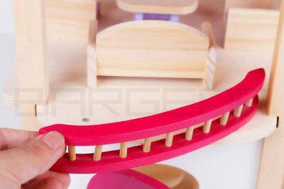 Wooden DIY Dolls Doll House 3 Level Kids Pretend Play Toys Full Furniture Set Pi 6