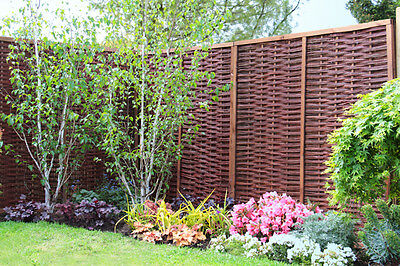 1 Of 7 Framed Woven Willow Hurdle Fencing Panel 6ft X 6ft Garden Screening  Wooden Fence
