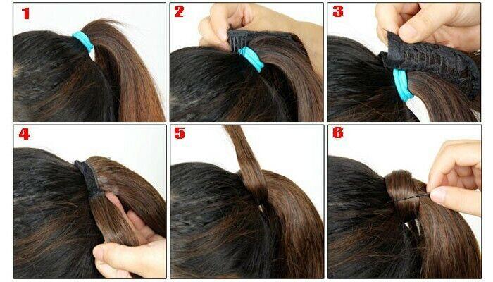 Umwickeln Pferdeschwanz Echt Weich Haarverlängerung Clip In Lang Haarteil DE lsn 12