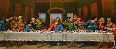 Pintura 12 Apóstol La Última Cena Jesús ANTIGUO Barroco Shabby BLANCO/ORO 96x57