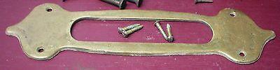Authentic Antique Cast Brass Mail Slot & Inside Trim Plate W/original Screws #1 2