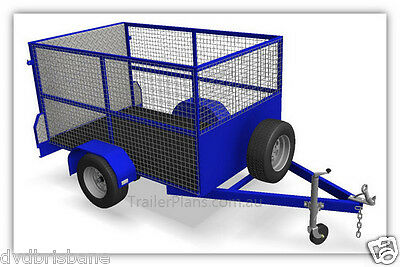 Trailer Plans - CAGE TRAILER PLANS - 3 sizes - 7x4, 8x5 & 9x5ft- PLANS ON CD-ROM 3