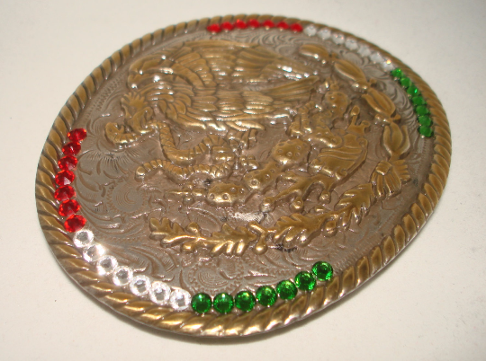 Mexico Coat of Arms Flag Western Rodeo Cowboy Mexican Vintage style belt buckle 4