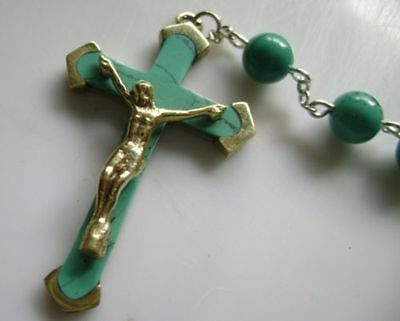 Turquoise BEADS & Turquoise CROSS Crucifix 5 DECADE ROSARY Catholic NECKLACE 12