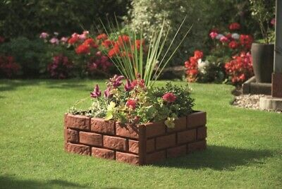 Pack of 4 Plastic Brick Effect Lawn Garden Grass Edging Skirting Border Picket Fence in 2 Colours Terracotta