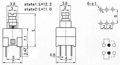 20pcs 7*7mm PCB 6 Pin Push Tactile Power Micro Switch Self Lock On//Of RAS