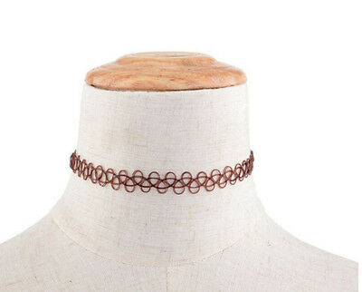Hippy 90s Stretch Tattoo Elastic Boho Choker Necklace Bracelet Cord Retro Gothic 5