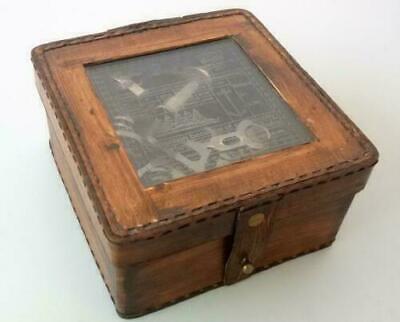 Beautiful 1917 Kelvin & Hughes  Navigation instrument Sextant Brass W/leather 3