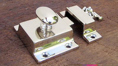 Reproduction Large Solid Brass Cabinet Latch (Polished Nickel) 5