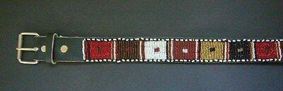 "African Ethnic Black Leather Masai Bright Bead Ladies Mens Unisex Belt L 29-34"" 2"