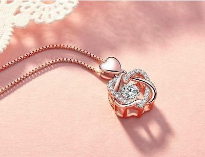 Rose Gold Heart Pendant 925 Sterling Silver Chain Necklace Womens Jewellery Gift 2