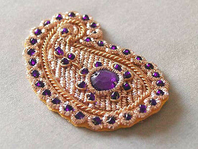 Paisley Appliques Blue Gems /& Gold Bullion Embroidery 6 Hand-Beaded