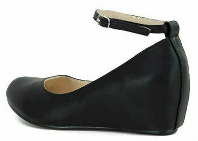 6bd732ac2c ... Women's Black Ballet Flat Mary Jane Ankle Strap Hidden Low Med Wedge  Heel Shoes 6