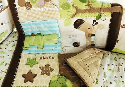New Baby Boys 6 Pieces Cotton Nursery Bedding Crib Cot Sets-- Giraffe Animal Zoo