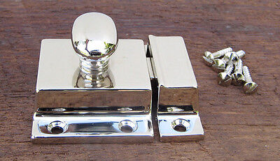 Reproduction Large Solid Brass Cabinet Latch (Polished Nickel) 3