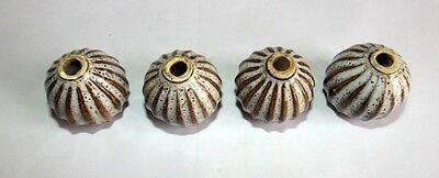 Vintage Decorative Lot # 4 Muskmelon Shape Ceramic Door Knob Drawer Knob 3