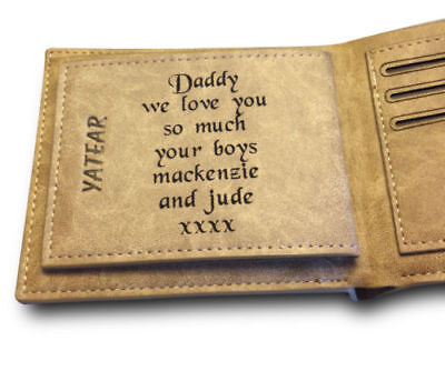 3rd Wedding Anniversary Gift.Men S Personalised Engraved Real Leather Wallet 3rd Wedding Anniversary Gift