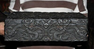Old Chinese dynasty palace black Rosewood wood Carved Dragon Jewelry Storage box 9