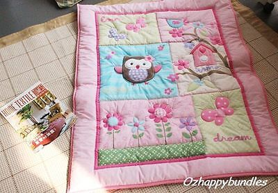 New Baby Girls 8 Pieces Cotton Nursery Bedding Crib Cot Sets-- Owl Tree Design