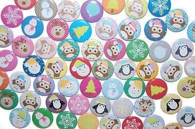 Weihnachts-Wundertüte 10 x Buttons Anstecker Pin 25mm im Set Elch Pinguin Eule