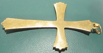 OUTSTANDING VINTAGE BRASS CROSS,ENGRAVING,EARLY 20th. Century !!! # 41A 5