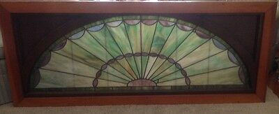 Vintage X-Large Early Centry Arched Stained Glass Window 5