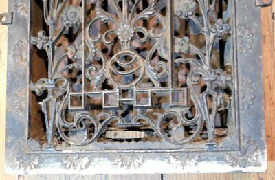 Antique Cast Iron Floral Grate - Vent AWESOME - Tombstone 7