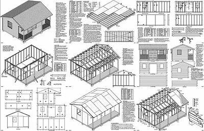 16 x 20 Cabin Shed / Guest House Building Plans #61620 2