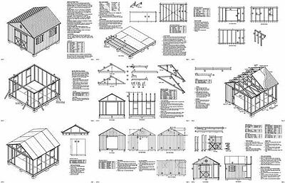 12 X 12 Garden Storage Gable Shed Plans Building Blueprints