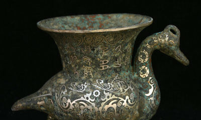 """9"""" Ancient Chinese dynasty Old Antique Bronze Silver Animal Bird drinking vessel 10"""